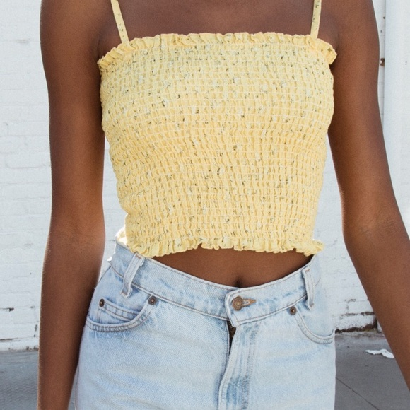 aabc292d595685 Brandy Melville Tops - Yellow Ally Floral Smocked Tank